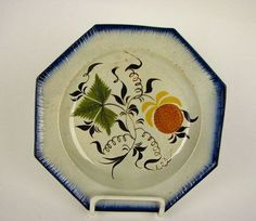 Antique Leeds 5 color Pearlware Glaze Pratt Staffordshire pottery Plate 19th C ebay $25 6in diameter