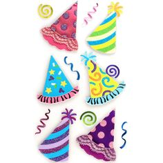 """Dress up photos, invitations, scrapbook pages and more with these Bright Party Hat stickers from Jolee's Boutique. Embellish your design with a variety of colorful birthday hats. Sticker sheet: 3.75"""" x 6.75"""", 13 pieces."""