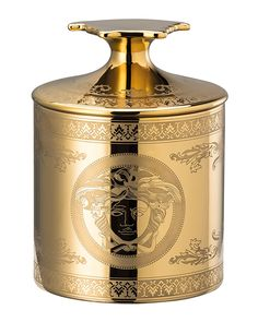Versace Gold Medusa Votive with Lid | Neiman Marcus Medusa, Versace Home, Fine Porcelain, Hand Washing, Scented Candles, Home Gifts, Neiman Marcus, Best Gifts, Perfume Bottles