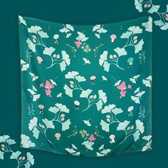 Ginkgo Midori 100 x 100 cm - Dreaming of walking beneath the falling leaves of gingko trees.. Now available in Midori (dark green) and Momo (peach) . . . #scarf #swanderfulthings #illustration #fallwinter #olshopindo #onlineshop #localbrand
