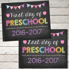 First Day and Last Day of Preschool Sign by TheLovelyDesigns