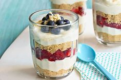 Mmm…cheesecake parfaits. They're just as scrumptious as they sound—made with cream cheese, berries and whipped topping.