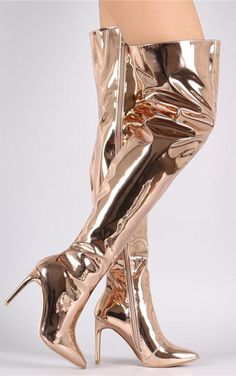 b55ad0b3b0c Silver Chrome Flared Pointy Toe Thigh High Heel Boots Patent in 2019 ...