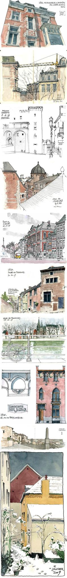 Watercolour architecture paintings by Gérard Michel. Drawing Sketches, Art Drawings, Arte Sketchbook, Illustration Art, Illustrations, Urban Sketchers, Chiaroscuro, Architecture Drawings, Michel