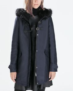 ZARA - FAUX FUR HOODED DUFFLE COAT WITH TOGGLES