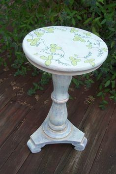 Furniture Hand Painted Plant Stand by yvettemeierdesign on Etsy