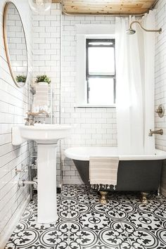 Subway tile and painted clawfoot tub in bathroom. Subway tile and painted clawfoot tub in bathroom. Subway tile and painted clawfoot tub in bathroom. Bathroom Renos, Bathroom Interior, Master Bathroom, Shiplap Bathroom, Bathroom Remodeling, Basement Bathroom, Bathroom Tiling, Remodeling Ideas, Office Bathroom