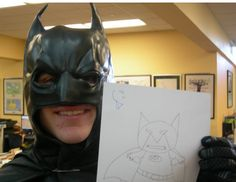 Batman learns to draw himself at Batman Day at Mesa County Libraries,  in Grand Junction, CO