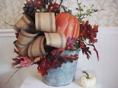 "I like ""industrial"" looking things for decoration inside and out; working on two containers this week and this one I completed today. Thanksgiving Crafts, Fall Crafts, Holiday Crafts, Galvanized Buckets, Metal Buckets, Galvanized Metal, Fall Arrangements, Floral Arrangement, Happy Fall Y'all"