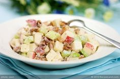 This sweet, sour yet savory salad has apples, celery, raisins, and toasted walnuts; tossed with a yogurt and mayonnaise dressing that makes the salad creamy and tasty.