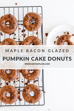Pumpkin Cake Donuts with Maple Bacon Glaze - Instant Loss - Conveniently Cook Your Way To Weight Loss Blender Recipes, Oven Recipes, Clean Eating Recipes, Gluten Free Recipes, Fall Recipes, Cookbook Recipes, Pumpkin Recipes, Eating Healthy, Chicken Recipes