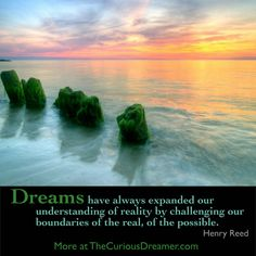 """""""Dreams have always expanded our understanding of reality by challenging our boundaries of the real, of the possible."""" ~ Henry Reed. Explore dream meaning at TheCuriousDreamer.com... #dreamquotes  #dreammeaning"""