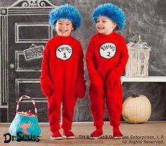 Kid Halloween Costumes & Halloween Kid Costumes | Pottery Barn Kids  -  Dr. Seuss's Thing 1 and Thing 2 Costume