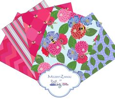 Melody's Zinnias - custom fabric / print collection by Shelly Penko