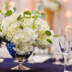 Navy blue and white wedding centerpiece - mercury glass - www.bellacalla.com - Bella Calla - Denver Vail Aspen Florist