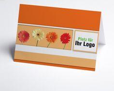 #Logokarte #Grusskarte mit Gerbera in orange