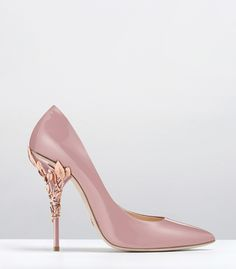 Ralph & Russo - Haute Couture Collection SHOES - STYLE 19-EDEN HEEL PUMPS-LAVENDER PINK PATENT WITH ROSE GOLD LEAVES