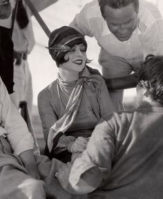 Clara Bow visiting Victor Fleming on set, 1927.