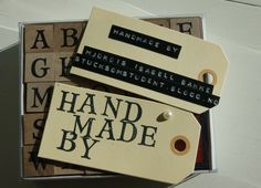 Handmade tags for gifts.