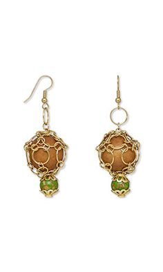 """Jewelry Design - Earrings with Wood Beads, Mosaic """"Turquoise"""" Gemstone Beads and Chainmaille - Fire Mountain Gems and Beads"""
