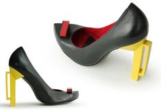 Bauhaus inspired footwear.  Doesn't particularly tickle my fancy although love the innovative concept and it strongly portrays bauhaus design. The colour blocking aspect is effective