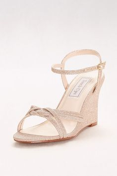 56766a9950 These elegant braided metallic wedges are perfect for all events,  especially outdoor weddings. By