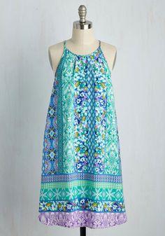 Resplendent Energy Dress - Multi, Mint, Print, Casual, Sundress, Festival, Shift, Sleeveless, Spring, Woven, Good, Mid-length