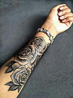 Tattoo roses in female arm Forarm Tattoos, Small Forearm Tattoos, Cool Small Tattoos, Dope Tattoos, Badass Tattoos, Tattoos For Guys, Rose Tattoo Forearm, Tatoos, Skull Rose Tattoos
