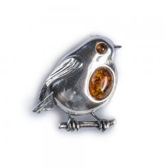 Cognac Amber and Silver Rockin' Robin Brooch Christmas Jewellery Christmas Gifts Bird Jewellery Robin Jewellery