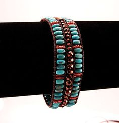 Turquoise Beaded Leather Single Wrap Bracelet Pompeii by Livllov, $75.00