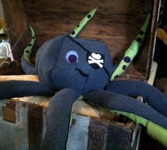 Items similar to Pirate Octopus Giant Plush stuffed animal life size sea monster on Etsy Giant Stuffed Animals, Dinosaur Stuffed Animal, Octopus, Pirate Nursery, Giant Plush, Grandeur Nature, Sea Monsters, Tentacle, Handmade Clothes