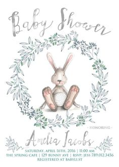 Spring Baby Shower Invitation Printable Bunny by INVITEDbyAudriana