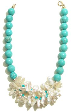 Helga Wagner Turquoise Beads with coin and stick Fresh Water Pearls and Turquoise Chips.