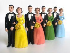 Vintage Wedding Cake Topper Chalkware Wedding Party figurines | Etsy