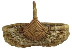 Large French Rattan Harvest Basket