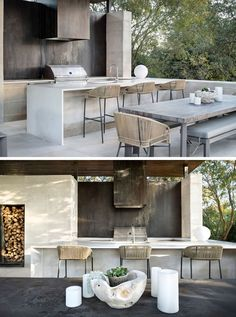 Oxidized steel panels have been used behind the grill in this modern outdoor kitchen. kitchen design modern This Poolside Living Room And Kitchen Sits Under A Large Floating Canopy Modern Outdoor Living, Modern Outdoor Kitchen, Patio Kitchen, Outdoor Living Rooms, Outdoor Spaces, Modern Outdoor Decor, Covered Outdoor Kitchens, Kitchen Island, Living Spaces