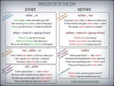 EITHER NEITHER NOR #grammar -         Repinned by Chesapeake College Adult Ed. We offer free classes on the Eastern Shore of MD to help you earn your GED - H.S. Diploma or Learn English (ESL) .   For GED classes contact Danielle Thomas 410-829-6043 dthomas@chesapeke.edu  For ESL classes contact Karen Luceti - 410-443-1163  Kluceti@chesapeake.edu .  www.chesapeake.edu