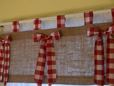 burlap tab valance with red and white check tabs by CraftyAmour Christmas Valances, Cortinas Country, 50s Style Kitchens, Burlap Valance, Curtain Rings With Clips, Burlap Projects, Custom Window Treatments, Western Decor, Valentine Decorations