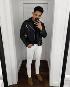 Men's Outfits 2021 | Lookastic Leather Jeans Men, Black Leather Biker Jacket, Navy Shawl, Shawl Cardigan, Semi Casual, Zara Man, Casual Boots, Shirt Jacket, Well Dressed