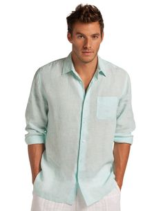 7ebd1fb635b Margarita Classic Linen Shirt - Men's Green Linen Shirt|Island Company  Island Wear, Vacation