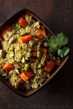 Roasted Pistachio, Sweet Potato,  Quinoa Salad Spiced with Cumin & Coriander.  Garnished with Cilantro and a Squeeze of Lemon Juice.   WOW!