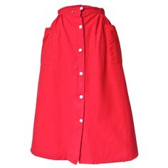 1950s unworn red cotton button-thru dirndl skirt at Candy Says Vintage Clothing www.candysays.co.uk