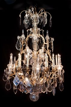 BK11-429  59''H  40''Diam French Baccarat and dor bronze chandelier 19th century.  28 lights