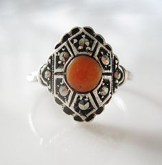 Art Deco Silver Ring Red Coral Marcasites by RosieLenaJewelry