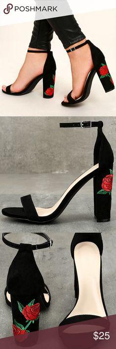 Felora Black Suede Embroidered Ankle Strap Heels Suede Black Heels lulus Shoes Heels