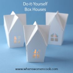 Like these white houses! They are do-it-yourself box house! Great gift wrapping idea!