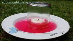 Experimento de la vela que se apaga y sube el agua.