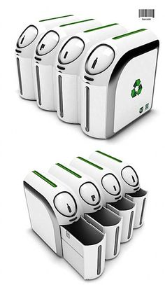 Collection of modern recycle bins and creative trash can designs from all over the world. Bin Bin Wastebasket Designed by John Brauer, thi. Modern Recycling Bins, Garbage Recycling, Recycling Machines, Recycling Center, Recycling Furniture, Garbage Waste, Garbage Can, Mobiles, Waste Container