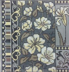 Floral Off White/Grey -- Alice Peterson needlepoint canvas