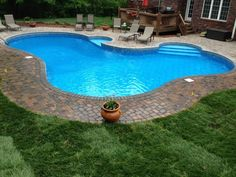 Charlotte Pool Photos, Vinyl Pool Photos, free form pool with decking pavers